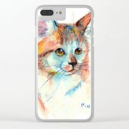 Bicolor cat portrait Clear iPhone Case