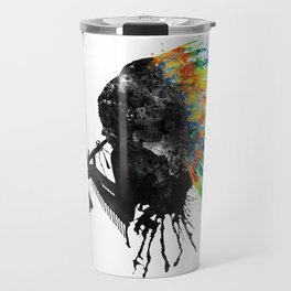 Indian Silhouette With Colorful Headdress Travel Mug