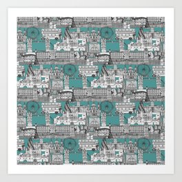 London toile blue Art Print
