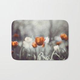 Orange Grey Tulip Photography, Burnt Orange Tulip Flowers Photo Bath Mat