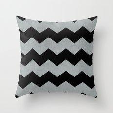 chevron - black and gray Throw Pillow