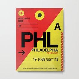 PHL Philadelphia Luggage Tag 2 Metal Print