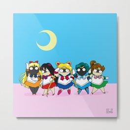 Sailor pugs Metal Print