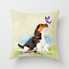 Beagle puppy with butterfly Throw Pillow