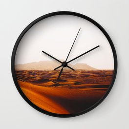 Minimalist Desert Landscape Sand Dunes With Distant Mountains Wall Clock