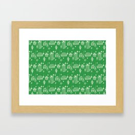 Christmas gift and ornaments Green and White Framed Art Print