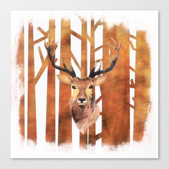 Proud deer in forest- Watercolor Illustration Canvas Print