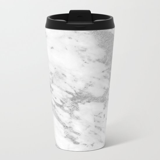 Marble - Silver and White Marble Pattern Metal Travel Mug