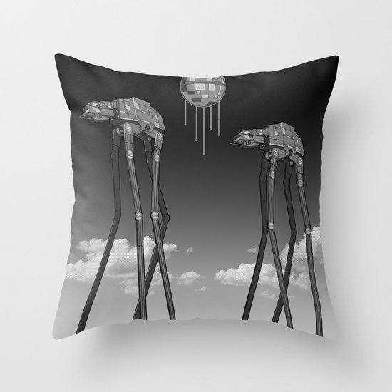 Dali's Mechanical Elephants - Black Sky Throw Pillow