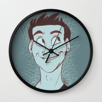 stiles stilinski Wall Clocks featuring Stiles by The Art of Nicole