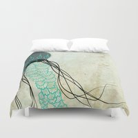 jelly fish Duvet Covers featuring Jelly Fish  by Greenwell Art