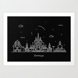 Pattaya Minimal Nightscape / Skyline Drawing Art Print
