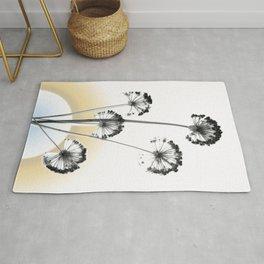 black and white flower wallpaper and the sun, flower decor, printable art Rug