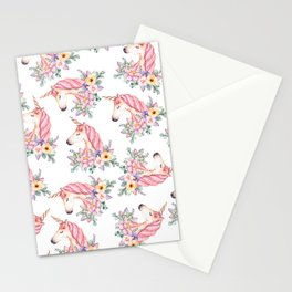 Pink lilac yellow green watercolor magical unicorn floral Stationery Cards