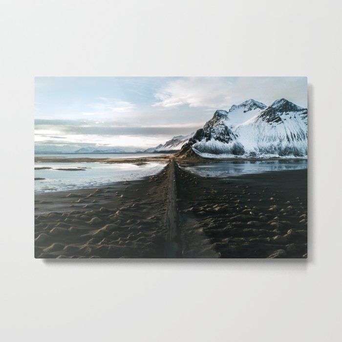 Mountain beach road in Iceland - Landscape Photography Metal Print