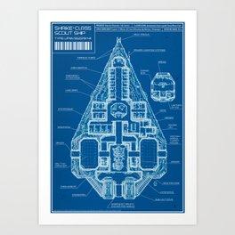Shrike-class Scout Ship (Blueprint) Art Print