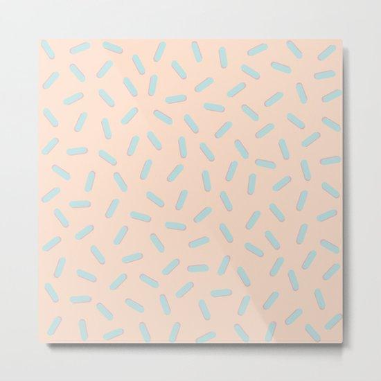 Memphis Bacteria Pattern Pastel Colors Peach Baby Blue Metal Print