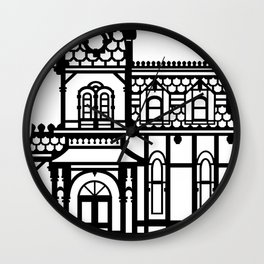 Old Victorian House - black & white Wall Clock
