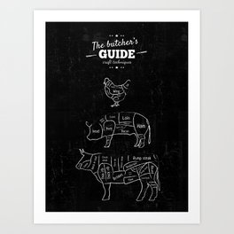 Butcher's Guide - Beef, pork, chicken - cut's chart - Butcher Shop Butcher cuts Meat Cuts Art Print