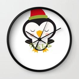 Christmas Penguins Falalala Wall Clock