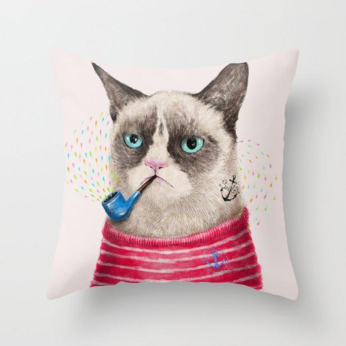 Sailor Cat II Throw Pillow