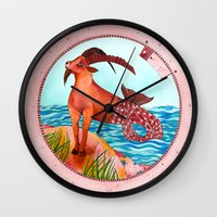 capricorn Wall Clocks featuring Capricorn by Sandra Nascimento