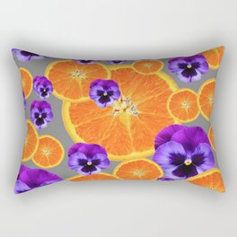 ORANGE SLICES & PURPLE PANSIES MODERN ART Rectangular Pillow