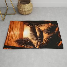 Perfect Palm Sunset (Color) Rug