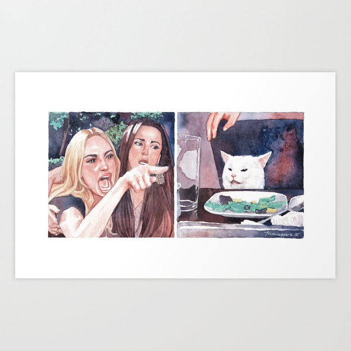 Woman Yelling at Cat Art Print