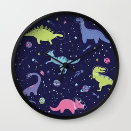Dinosaurs in Space Wall Clock