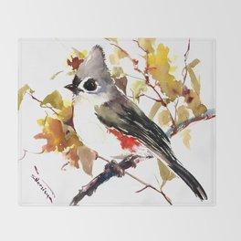 Titmouse on Fall Tree Throw Blanket