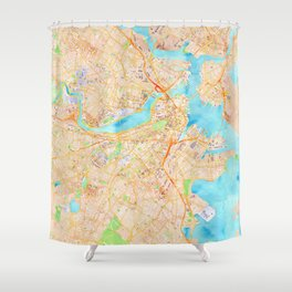Boston watercolor map XL version Shower Curtain