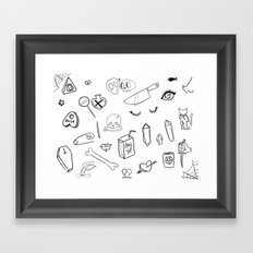 creepy cute witchy pattern Framed Art Print