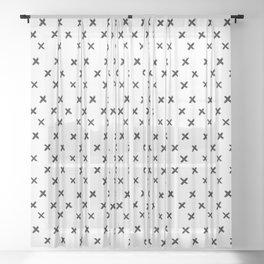 Small Cross Pattern Sheer Curtain