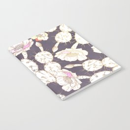 Modern white gold mauve lavender catus floral Notebook