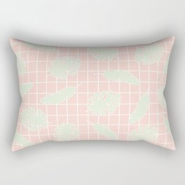Graphic Tropical Leaves on Grid Pink and Mint Green Rectangular Pillow