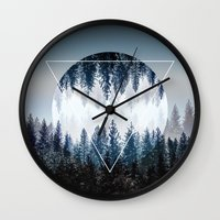 Wall Clocks featuring Woods 4 by Mareike Böhmer