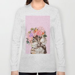 Baby Squirrel with Flowers Crown in Pink Long Sleeve T-shirt