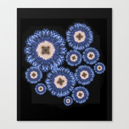 Blue Silky Flowers Canvas Print