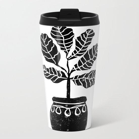 Fiddle Leaf Fig tree linocut black and white minimal modern lino carving monochromatic trendy art Metal Travel Mug