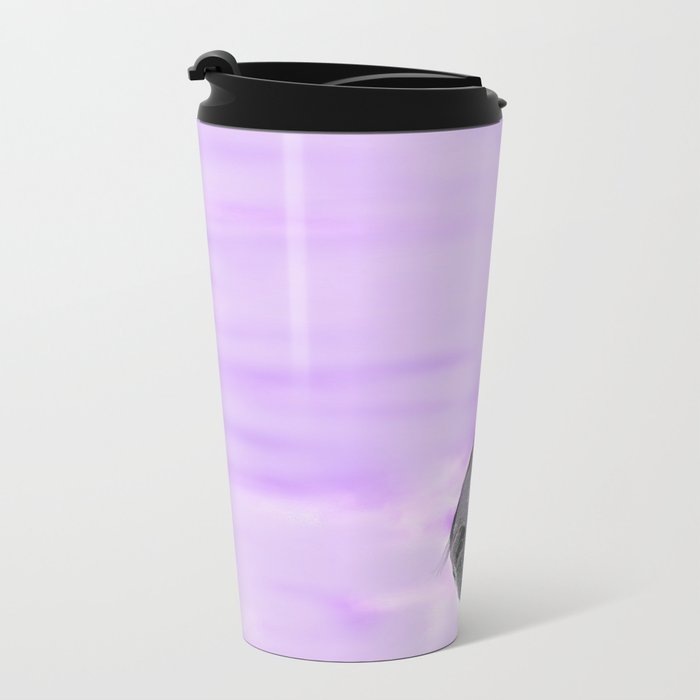 Zebra Purple and White Metal Travel Mug
