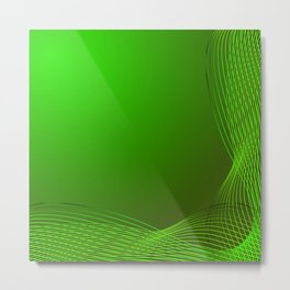 Greeting card of green lines made from smoke on a green background. Metal Print
