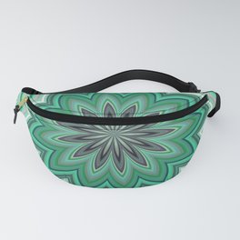 Abstract Teal Mandala Flower Fanny Pack