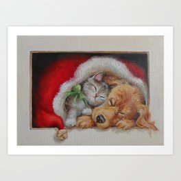 Cute pets Dog and Cat sleeping in the Santa's hat Christmas illustration Art Print