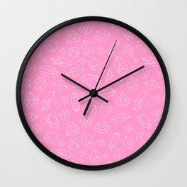 Pink Crystal Pattern Line Drawing Wall Clock