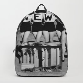 The Girl with New York shirt in a line, lovely girls on the street - mid century vintage photo Backpack