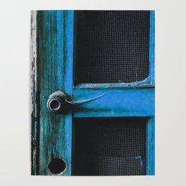 closeup old blue vintage wood door texture background Poster