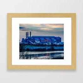 Indy's Lucas Oil Stadium Near the White River Framed Art Print