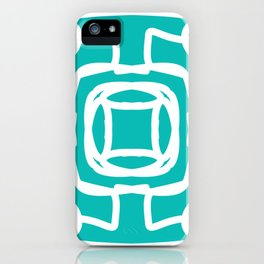 Medallion turquoise & white abstract iPhone Case