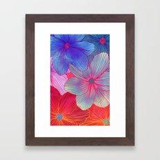 Between the Lines 2 - tropical flowers in purple, pink, blue & orange Framed Art Print